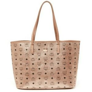 MCM Champagne Gold Reversable Tote W/ Wallet Pouch